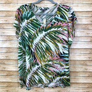 Cable & Gauge linen blend palm print t-shirt 0298